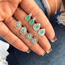 4 Pair/set Hollow Water Drop Flower Beautiful Zircon Inlay Stud Earring for Women Bohemia Style Silver Metal Ear Stud Jewelry(China)