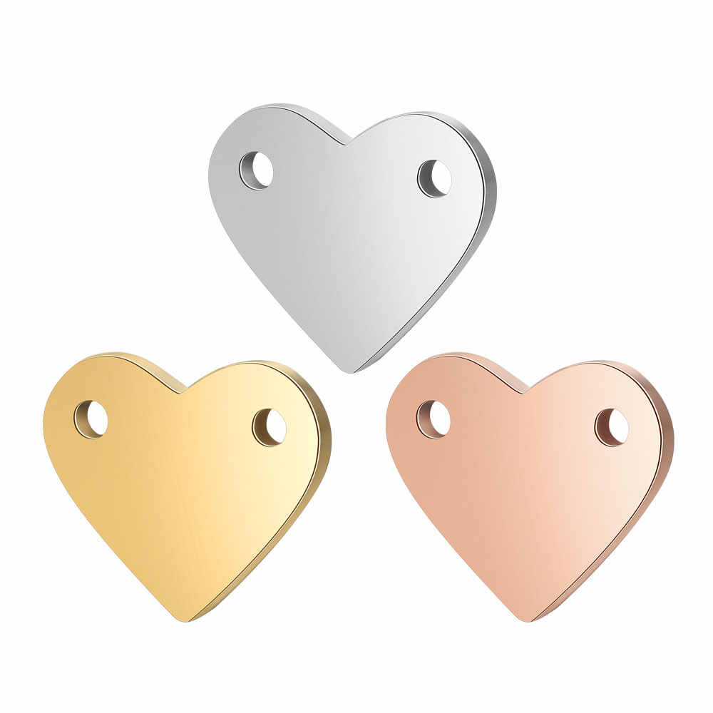 5pcs/lot Mirror Polished Heart Connector Charms Wholesale 100% Real Stainless Steel DIY Jewelry Making Connectors