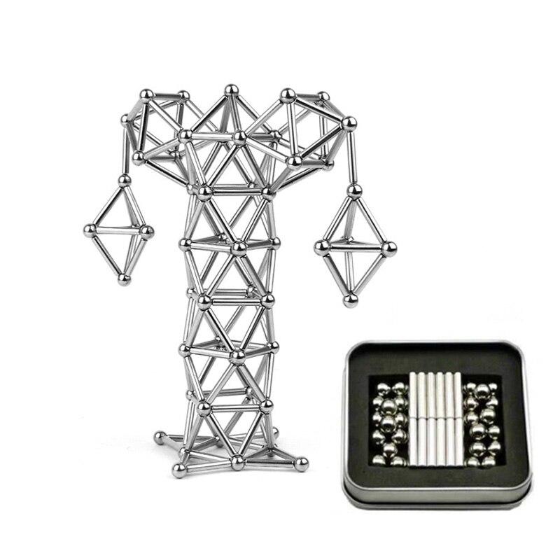 36 Uds. Palos magnéticos y 27 Uds. Bolas de acero juguetes innovadores Buckyballs palitos de metal constructor magnético juguetes para la construcción de modelos