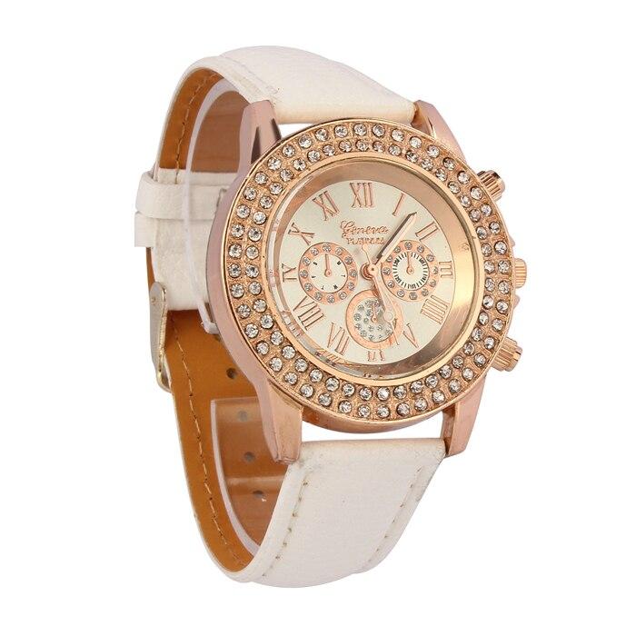 Luxury Quartz Sport Women Ladies Crystal Dial Quartz Analog Leather Bracelet Wrist Watch fashion split leather band quartz analog bracelet wrist watch for women black 1 x 377