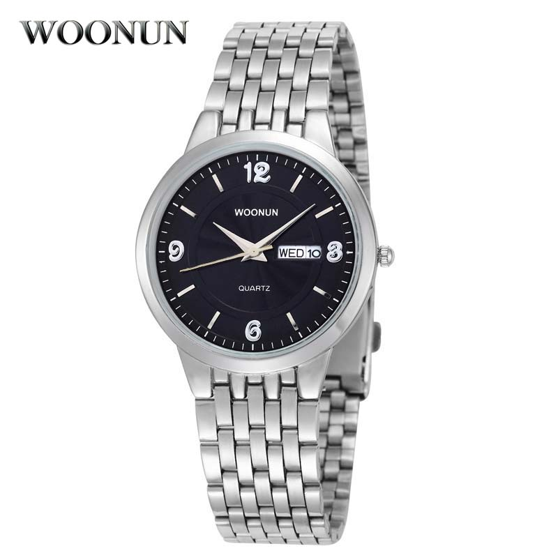 WOONUN Mens Watches Top Brand Luxury Ultra Thin Watches For Men Silver Steel Quartz Date Day Watch Waterproof Shockproof Reloj