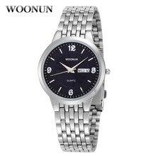 WOONUN Mens Watches Top Brand Luxury Ultra Thin Wat