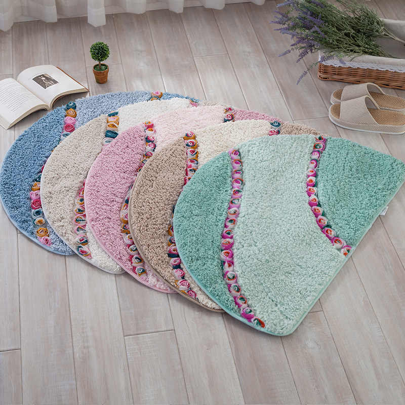 Полукруглый цветочный комбинированный напольный коврик из микрофибры, коврики для кухни 40*60/50*80 см, Противоскользящий коврик для спальни, ванной, туалета