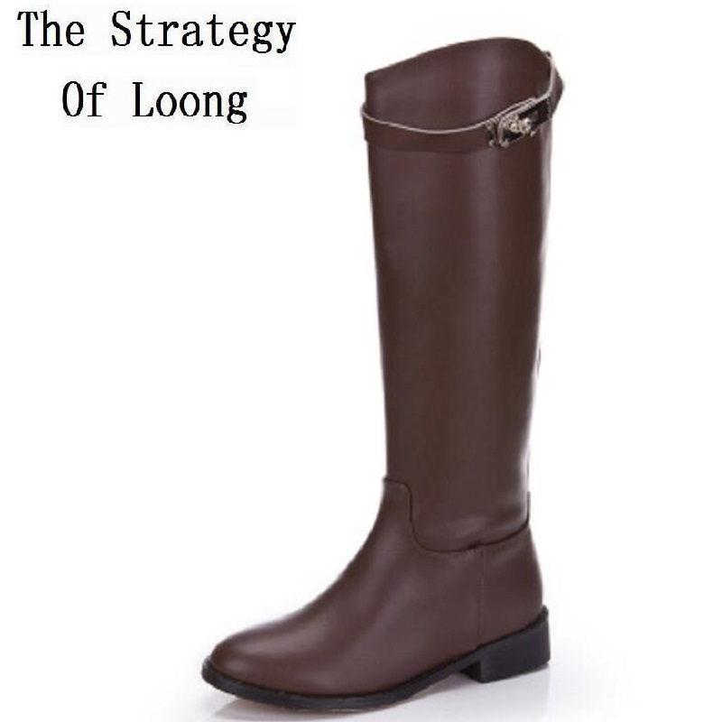 2019 New Winter Genuine Leather Buckle Short Plush Long Boots Women Spring Autumn Cow Leather Pure