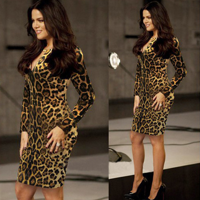 Kim Kardashian With A Sexy Female Section Of Sexy Nightclub Sexy Package Hip  Slim Long Sleeve Leopard Dress-in Dresses from Women s Clothing on ... 4df88d129