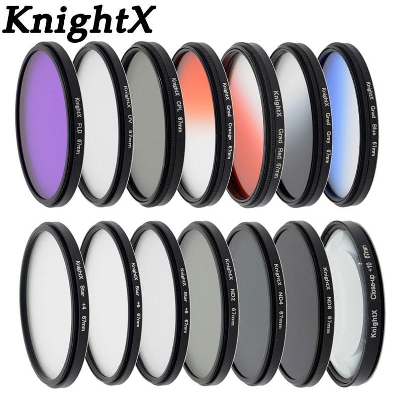 KnightX 14 filter FLD UV CPL ND ND2 ND4 ND8 Grad lens for Sony Canon Nikon D5300 D5200 D3300 EOS 7D 5D 6D 52MM 58MM 67MM 77MM fujimi grad grey 67mm