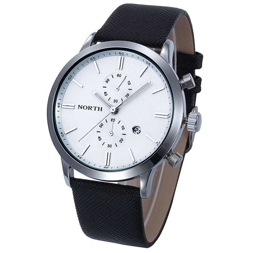Excellent quality 1PCS 2016 PU Leather Fashion Men Casual Waterproof Date PU Leather Military Watch quartz watch watches men
