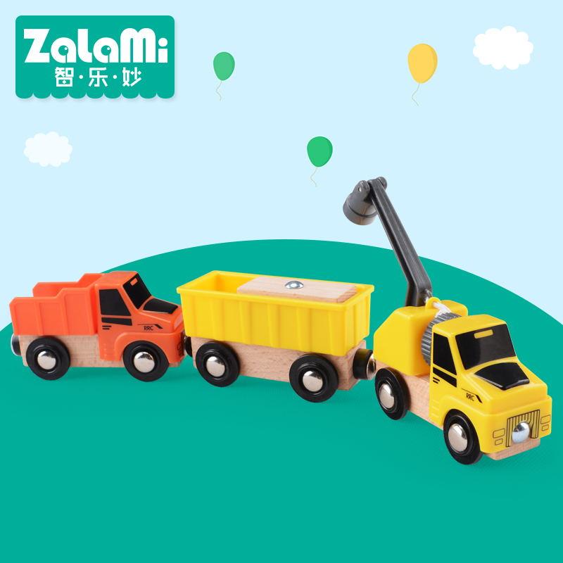 Zalami ยานพาหนะ toys abs 3 ชิ้นก่อสร้างยานพาหนะ toys ของขวัญที่ดีที่สุดสำหรับเด็กมินิรถเล่นบนโทมัสติดตาม diy
