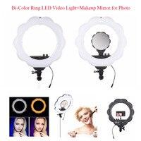 EACHSHOT ES384 Bi Color Ring LED Video Light Fill Light with Makeup Mirror 384pcs SMD LEDs 2700 Lumens 3000K 6000K Color