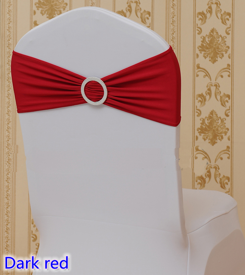 Dark Red Chair Sashes Lawn Chairs Target Colour On Sale Sash With Round Buckles For Covers Spandex Band Lycra Bow Tie Wedding Decoration In From Home Garden