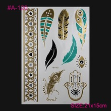 Fashion Sexy Body TATTOO Bracelet With Silver And Glue FLASH Tattoos GOLD And Silver Feather Tattoo Painting Art Tattoo