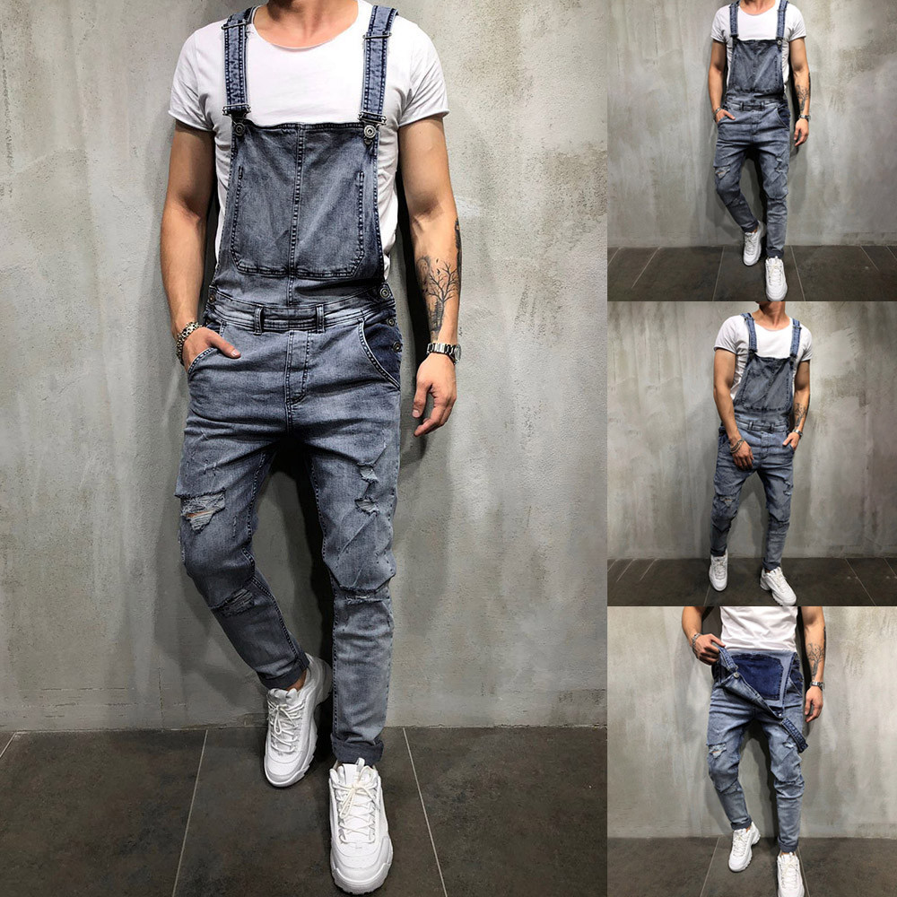 2019 men's overall casual jumpsuit jeans washed hole pants hanging pants men's jeans Slim 3.22