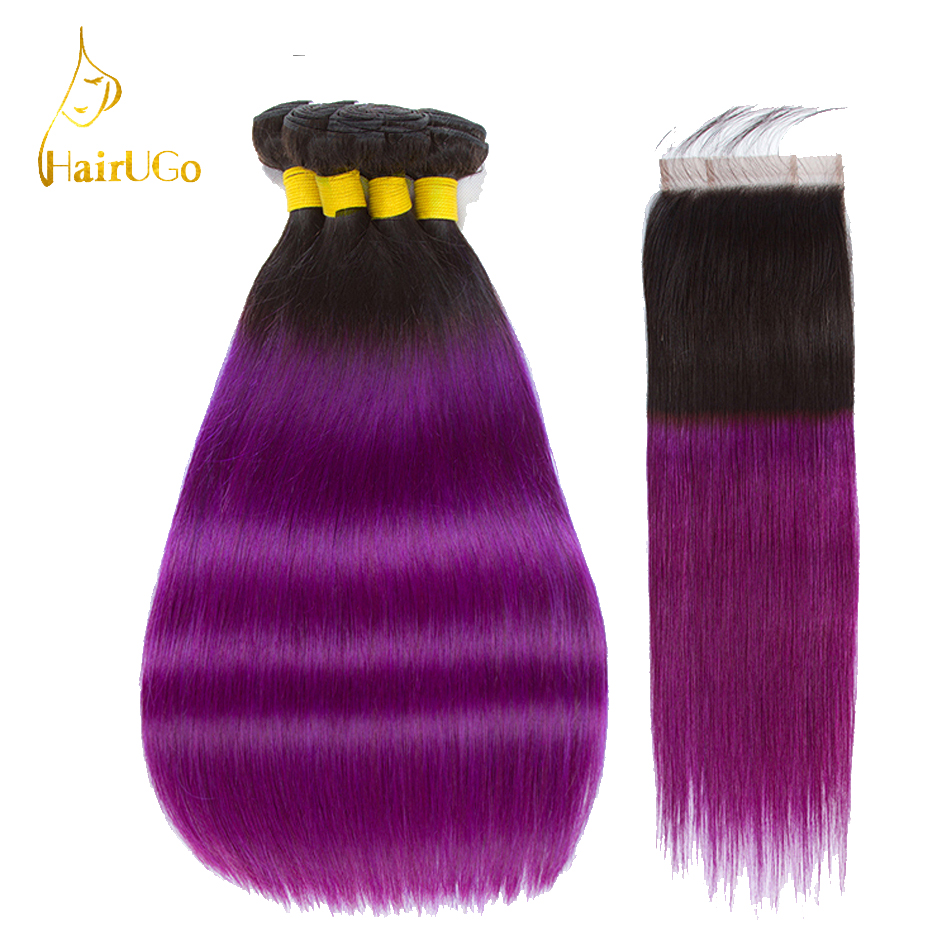 HairUGo Brazilian Hair Weave Bundles With Closure Straight Human Hair Bundles With Closure 1B/Purple Non Remy Hair Extensions