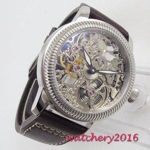 Image 2 - Luxus 44mm PARNIS Hohl herren uhr leucht hände 17 juwelen mechanische 6497 skeleton handaufzug bewegung männer uhr