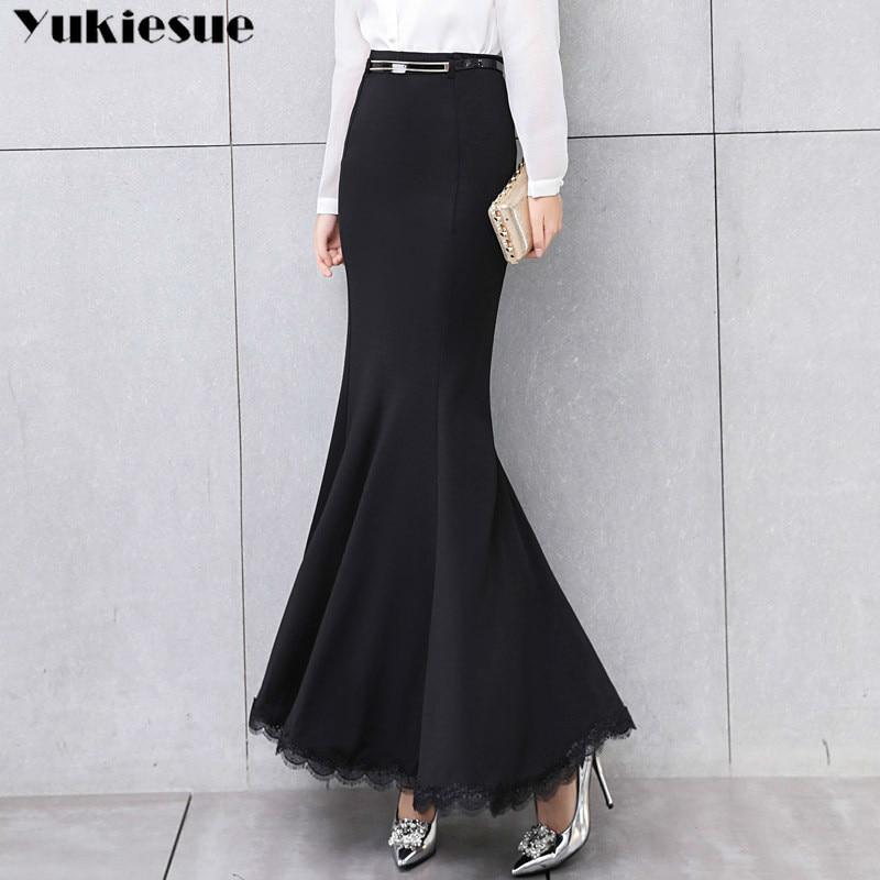 Elegant Long Skirt Women Lace Trumpet Mermaid Vintage Skirts Womens Bodycon High Waist Skinny Ruffles Female Midi Skirts Jupe