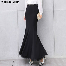 YUKIESUE Elegant Long skirt lace trumpet mermaid vintage skirts womens bodycon