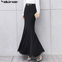 Elegant Long skirt women lace trumpet mermaid vintage skirts womens bodycon high waist skinny ruffles female Midi Skirts Jupe