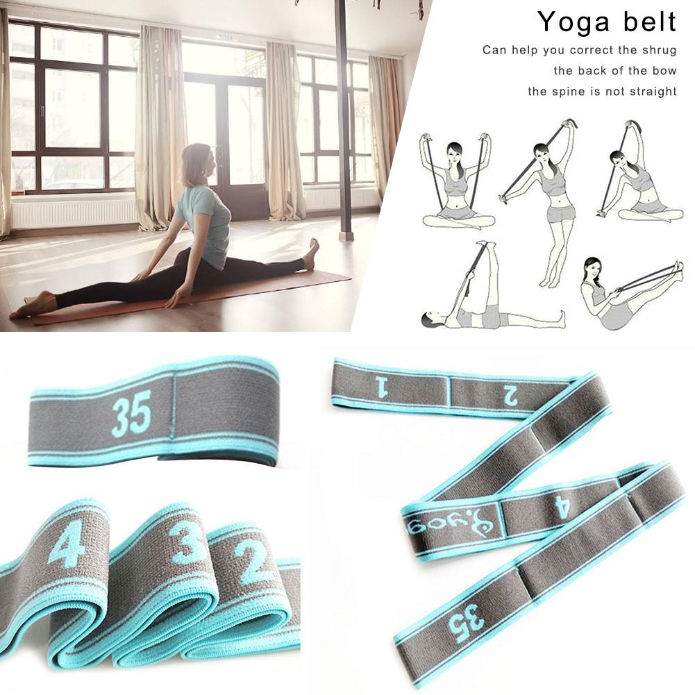 Gym Fitness Equipment Yoga Belt High Elastic Dance Stretch Auxiliary Nylon Belt 9-segment Workout Crossfit Yoga Resistance Band