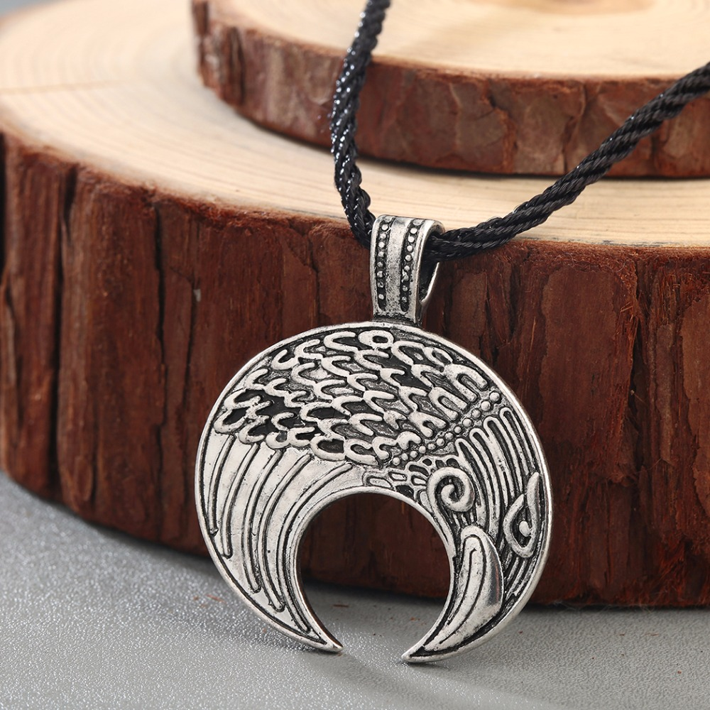 Chengxun classic men necklace raven viking lunula pendant amulet chengxun classic men necklace raven viking lunula pendant amulet crescent moon norse slavic fertility pagan slavic talisman in pendant necklaces from biocorpaavc