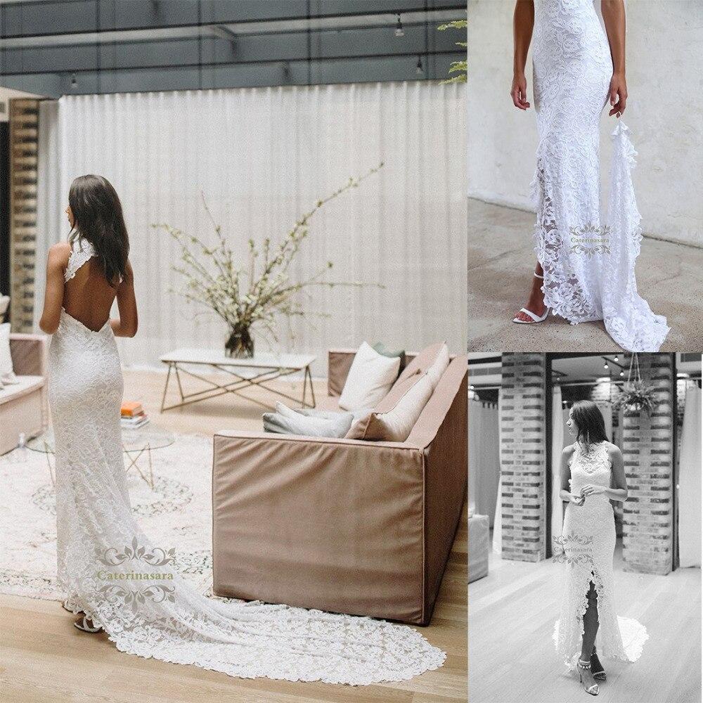 Lace Halter Wedding Gown: Keyhole Mermaid 2019 Lace Women Wedding Dress Halter Bride
