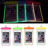 ISKYBOB Hot Sale Luminous Glow Waterproof Pouch Bag Pack Dry Case Cover For Your Phone Travel Accessories