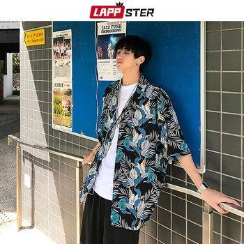 LAPPSTER Men Streetwear Floral Hawaiian Shirts 2020 Mens Hip Hop Summer Shirt Male Harajuku Oversized Designer Button Shirt INS