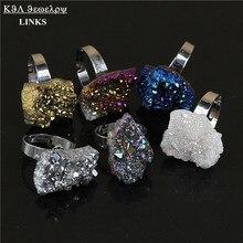 Special Shining Titanium purple /blue/rainbow/gold/silver/ white crystal druzy stone ring, natural quartz geode stone ring