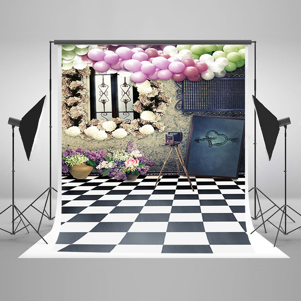 Photography Backdrops Balloon Flower Camera Foto Background Black And White Lattice Floor Background for Photography Studio photography backdrops colorful flower and floor for children background photographic studio background