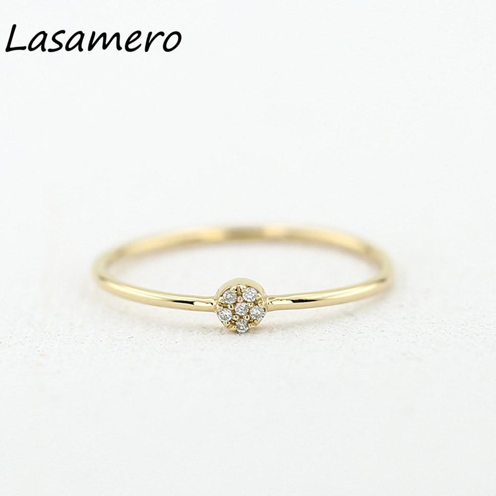 LASAMERO круглой огранки 0.04CTW природных алмазов 14 К золото 6 камни кластера Обручени ...