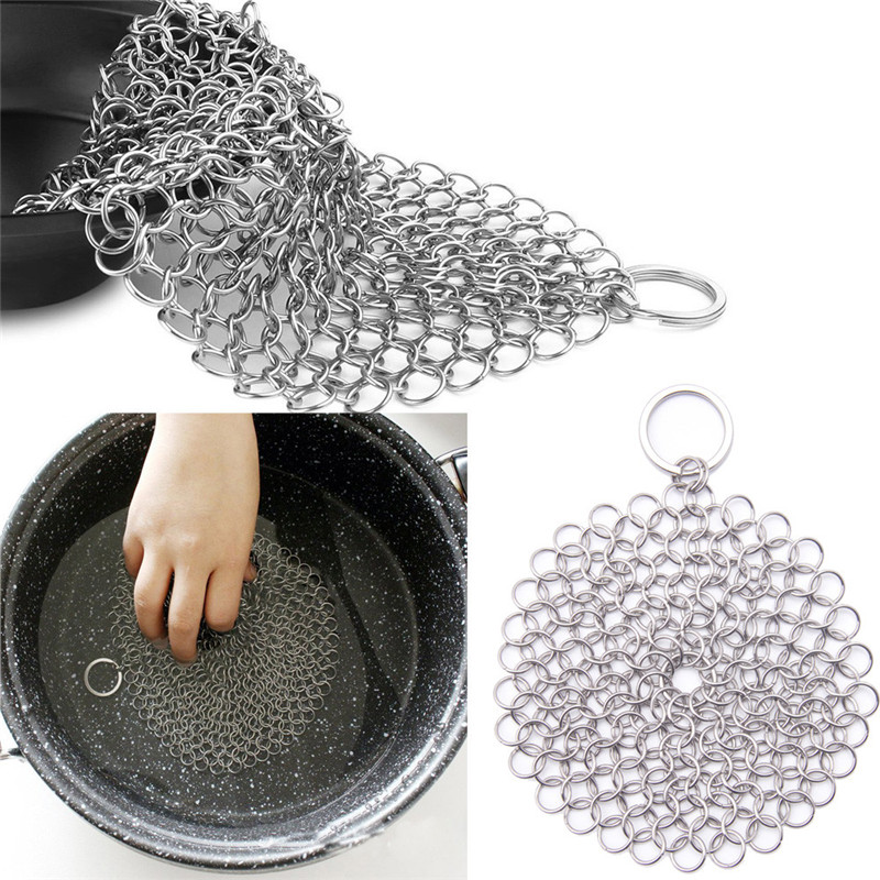 2018 Hot Stainless Steel 316 Cast Iron Cleaner Scrubber Kitchen Rust remover Washing Pot Pan Scraper Brush Square Steel Mesh Pad