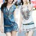 2016 venta caliente de primavera y verano de las mujeres dress moda bordado dress plus tamaño ropa casual brand vestidos de envío gratis