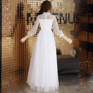 Image 5 - Seksi beyaz tül uzun abiye Vintage Polka Dot uzun kollu See Through akşam partisi törenlerinde zarif resmi kıyafeti yeni Arriva