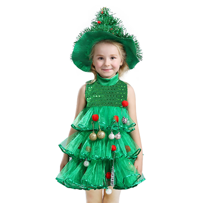 Baby Girls Cosplay Christmas Tree Dress Skirt Sleeveless Green Clothing Toddler Xmas Kids Party Costumes With Hat And Hang Ball