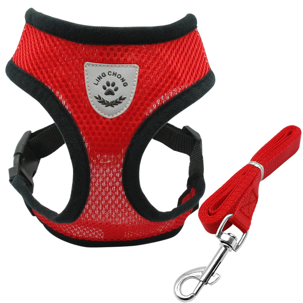 Mesh Pet Vest Harness and Leash Set Breathable Small Dog Puppy Cat Vest Harness Collar For Chihuahua Pug Bulldog Cat arnes perro 4