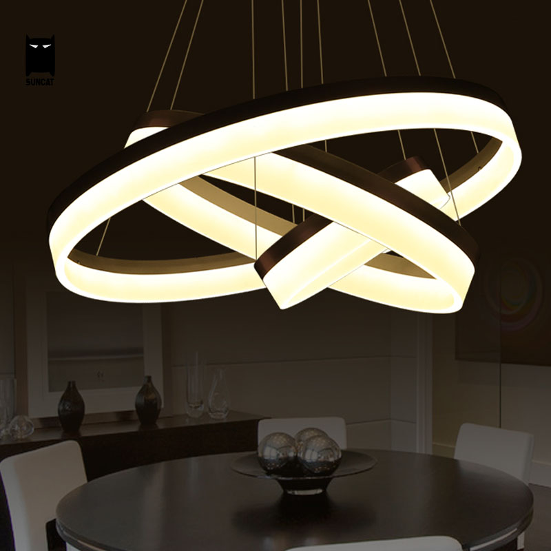 3 Rings Art Deco Nordic Large LED Chandelier Light Fixture Round Aluminum Hanging Lamp Luminaria Lustre Avize Home Living Room