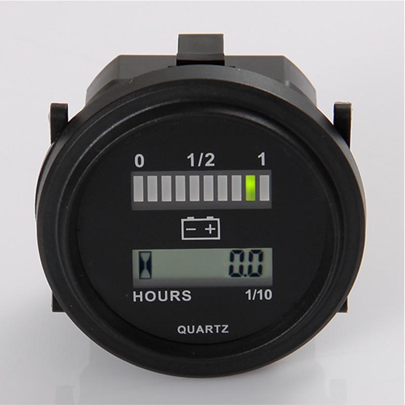 მრგვალი LCD საათის მრიცხველი LED ბატარეის ინდიკატორის დონის მაჩვენებელი 12V 24V 36V 48V 72V გოლფის ტრაქტორი