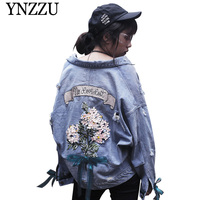 YNZZU 2019 New arrival floral embroidery denim jacket Lace up oversize causal jeans coat Turn down collar Autumn outwear YO808