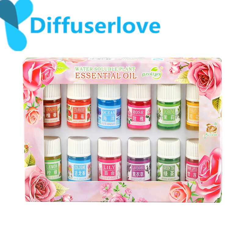 Diffuserlove 3ml Essential Oils for Aromatherapy Water-soluble Oils Body Massage Relax 12 flavours /box lily lemon lavender,ect denise williams essential oils bible the complete guide for aromatherapy