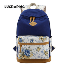 High Quality Fashion Canvas Women's Backpacks Ladies Girls Backpack Flower Students School Bags For Teenagers Girls Backpack