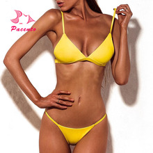 Pacento G String Sexy Bikini Set 9 Colors Swimsuit Women 2018 Yellow Bathing Suits Swimwear Female Up High Quality Plavky