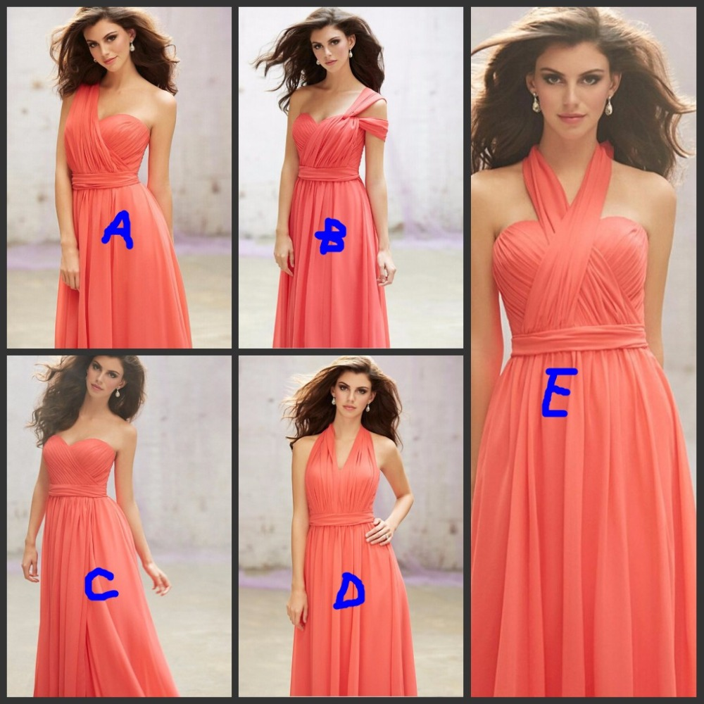 Hot Sale 2016 Summer Long Coral Bridesmaid Dresses Plus Size For ...
