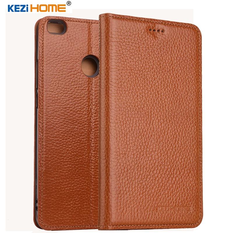 KEZiHOME for Xiaomi mi max 2 case Flip genuine leather soft silicon back for Xiaomi mi