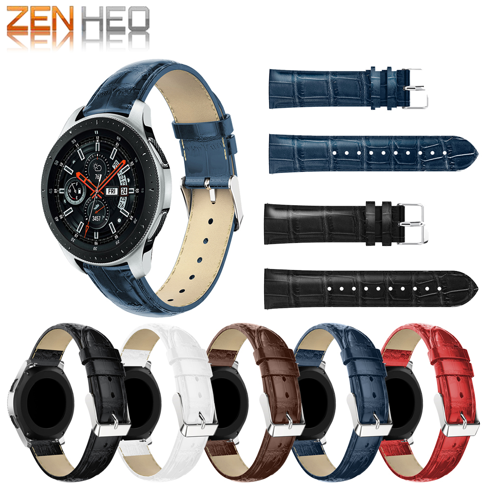 Replacement Sport Strap For Samsung Galaxy Watch 46mm Crocodile Pattern Leather Strap Watch Band for Samsung S3 Frontier/Classic 22mm20mm for samsung galaxy 42 46mm