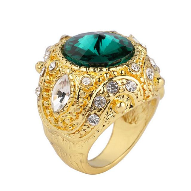 2017 New Fashion Men Wedding Ring Jewelry Gold Color Red Blue Green Gles Stone Rings For