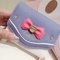 2017 New Samantha Vega Sailor Moon Women Short Small Change Purse High Quality Female Leather Bow Wallet Clutch Bag Card Holder