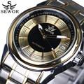 2016 top de luxo da marca sewor homens relógio de aço completo relógio mecânico automático mens relógios esporte militar relógios de pulso à prova d' água