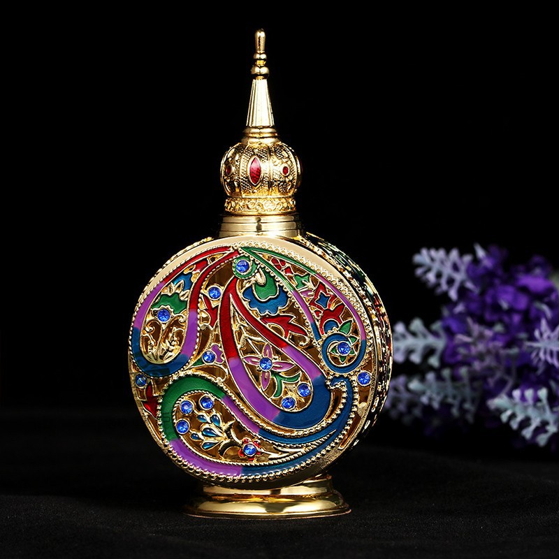 18ML Retro Antique Glass Perfume Bottle 1.4 inch Flower Vine Empty Glass Cosmetic Container Wedding Decoration Perfume Bottle (5)