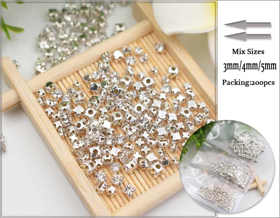 200pcs lot 3mm 4nmm 5mm Mix Size Crystal Claw Sew Rhinestones Copper Base  Glass Stones Crytsals Strass Rhinestones for clothes-in Rhinestones from  Home ... 64d7efbbfd71