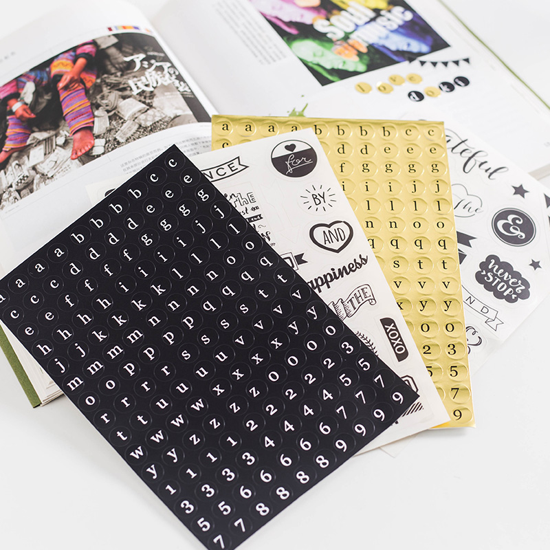 Dokibook Black Series Handmade Stickers Decorative Notebook Planner Accessories Diy Creative Stationery School Supplies 8pcs