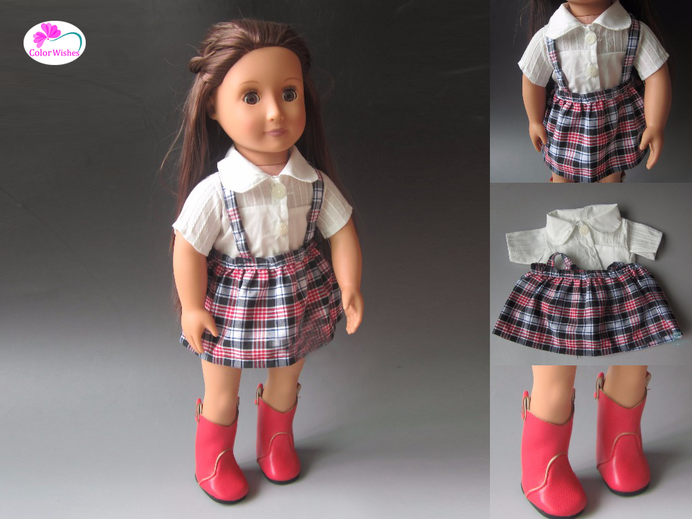 fits Zapf born baby 18 inch 45cm American girl White shirt + plaid skirt Clothes for dolls rose christmas gift 18 inch american girl doll swim clothes dress also fit for 43cm baby born zapf dolls